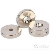Неодимовый магнит диск 25х7,5 мм с зенковкой 4,5/3 мм